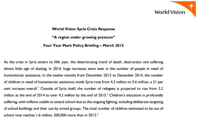 World Vision's 4-year policy briefing on the crisis in Syria (thumbnail image from PDF)