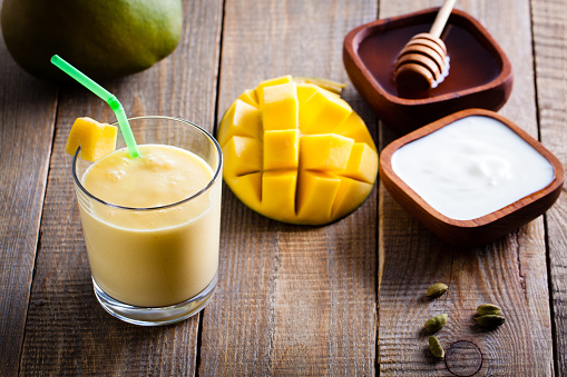Mango lassi is one of the most popular varieties of lassis, yogurt-based drinks from India.