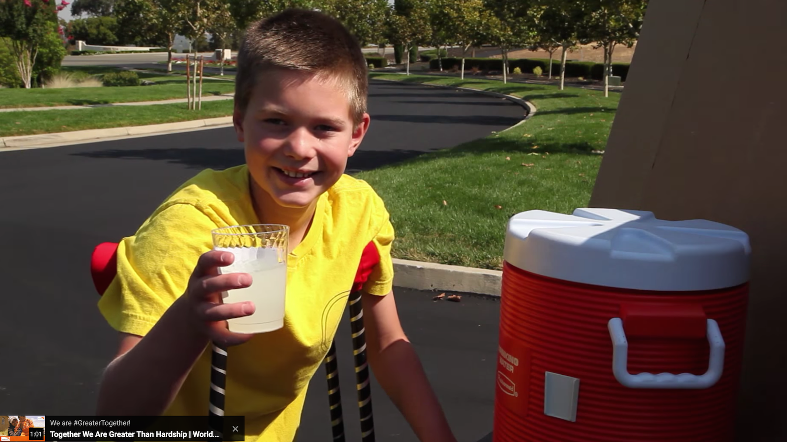 Tyler at his fundraising lemonade stand