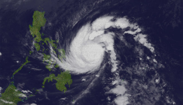 A still from a time-lapse satellite image of Typhoon Hagupit, courtesy of CYCLOCANE, shows its approach to the Philippines.