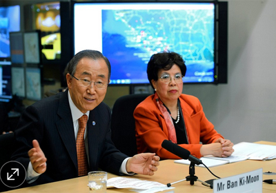 Margaret Chan, director-general of the World Health Organization, with U.N. Secretary-General Ban Ki-moon at WHO headquarters in Geneva, Oct. 1. PHOTO: Assoc. Press