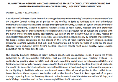 UN resolution on Humanitarian Access to Syria (PDF, Oct. 2, 2013)
