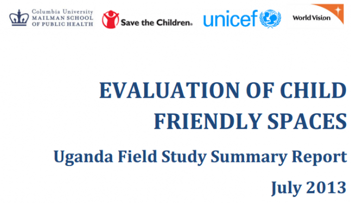 Cover of the report on Child Friendly Spaces in Uganda.