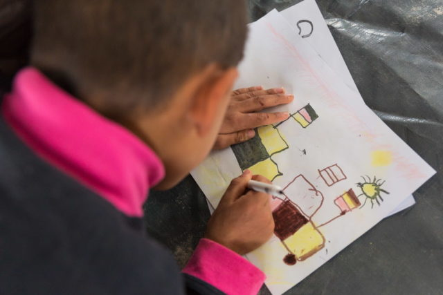 Children in Zelican camp get to play and draw for the first time in years after escaping the Mosul conflict. PHOTO: World Vision.