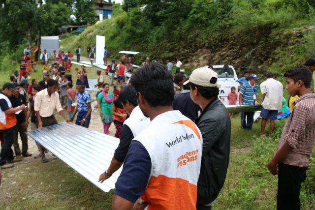 World Vision provides materials for families in remote villages to rebuild following the Nepal earthquake. In some areas, supplies could only be transported in by helicopter. PHOTO: World Vision.