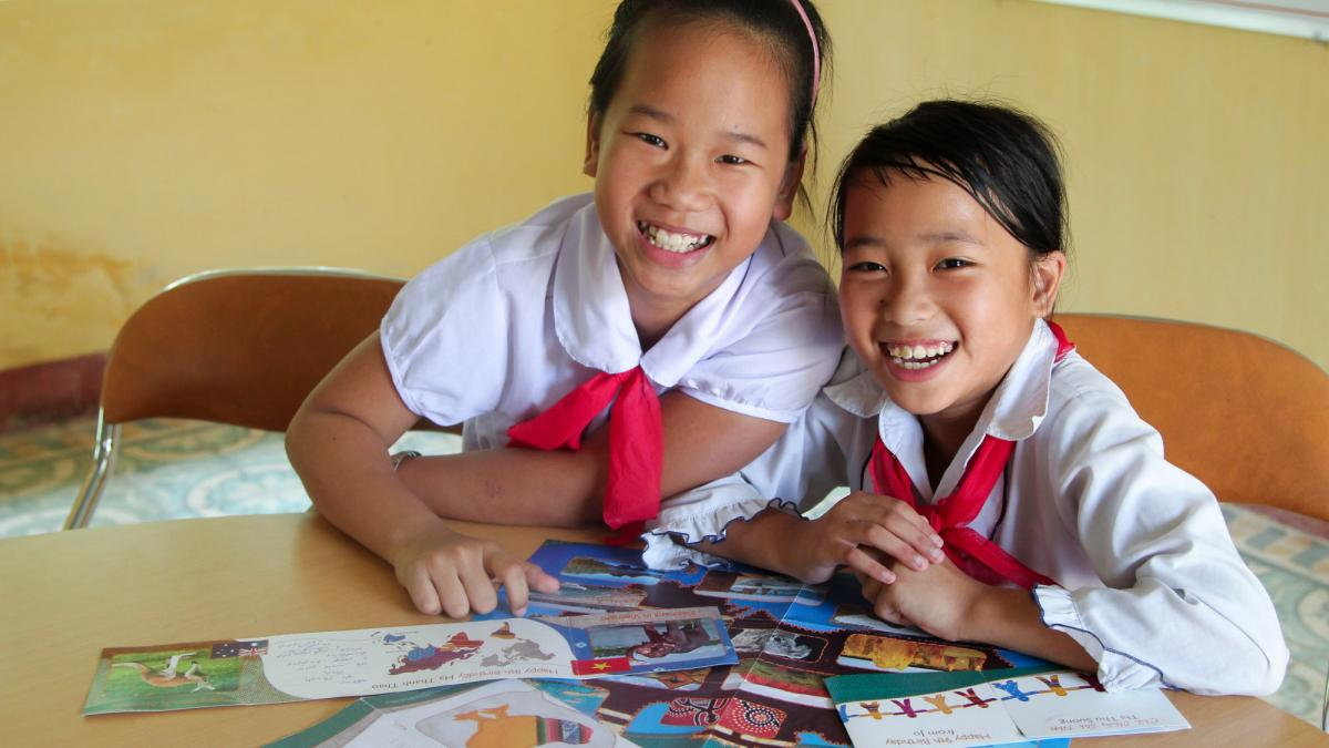 Kids in Asia received greeting cards.