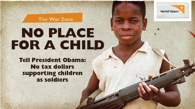 Sign the Change.org petition to President Obama to prevent funding to countries using child soldiers.