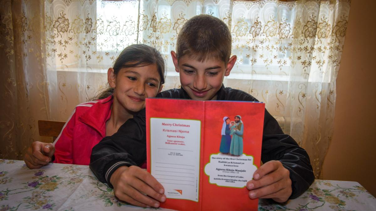 Kids in Eastern Europe received greeting cards.