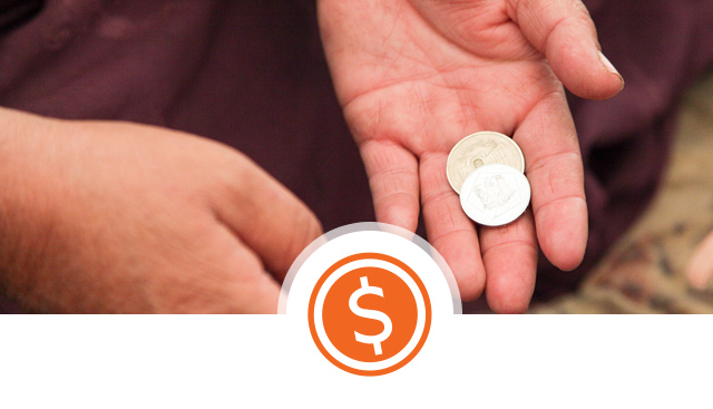 Economic development and opportunity - hands and coin icon ©World Vision