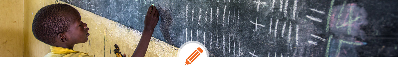 african child at blackboard - education, school