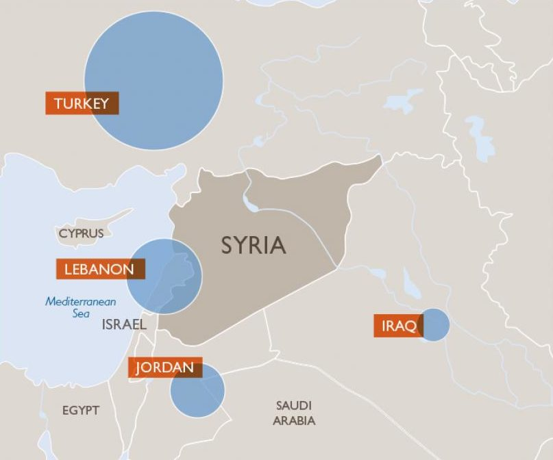 Syrian refugee crisis map of where refugees have fled to escape a violent civil war.