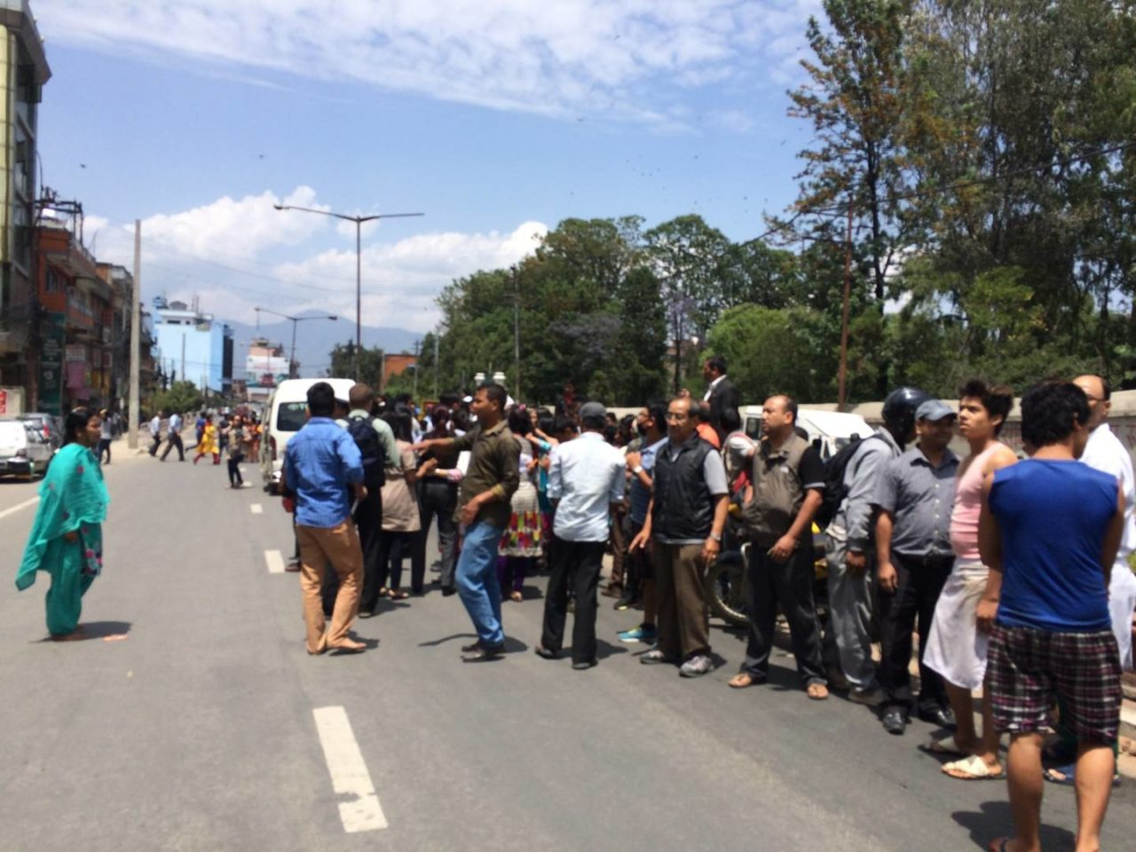 People ran into the streets, stalling traffic following the 7.4 magnitude quake that struck Nepal on Tuesday. PHOTO: World Vision / David Munoz