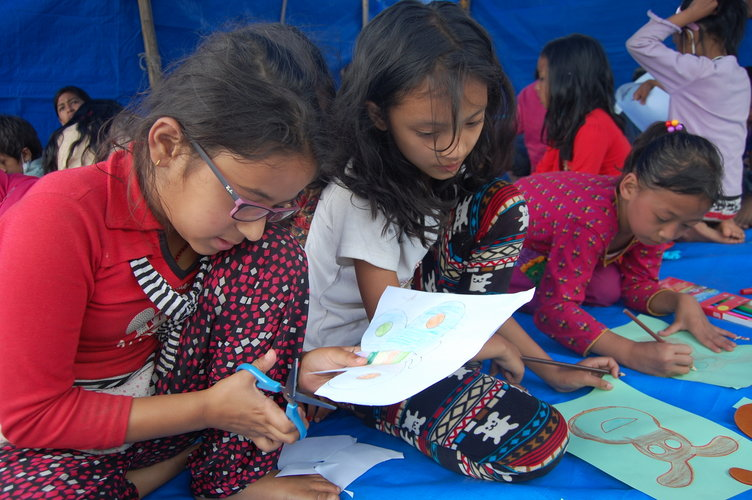 A Child Friendly Space set up in Kathmandu helps children impacted by the Nepal earthquake have a safe place to play. PHOTO: Alina Shresthra/World Vision