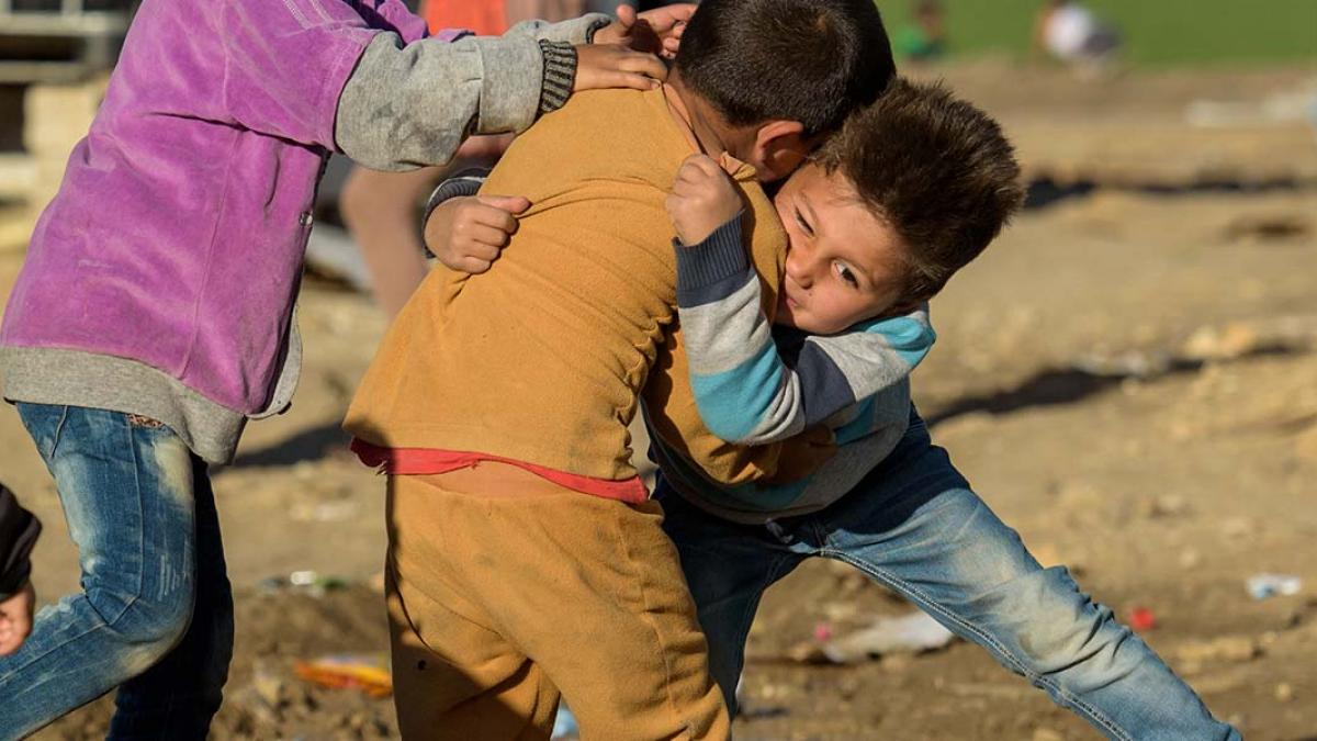 Syrian refugee kids play